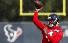 Houston Texans quarterback Deshaun Watson throws a pass during an NFL training camp football practice Friday, Aug. 21, 2020, in Houston. It has been a mere eight months since Patrick Mahomes led Kansas City from a 24-0 hole to beat Deshaun Watson and the Houston Texans in the divisional round of the playoffs, a brutally efficient comeback that ultimately propelled the Chiefs to their first Super Bowl title in 50 years. A whole lot has changed, though.(Brett Coomer, Houston Chronicle via AP, Pool, File)