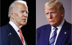 FILE - In this combination of file photos, former Vice President Joe Biden, left, speaks in Wilmington, Del., on March 12, 2020, and President Donald Trump speaks at the White House in Washington on April 5, 2020. Some of the country's major sports betting companies are running contests in which participants predict things that will happen or be said during the presidential debate, Tuesday, Sept. 29, 2020, for the chance to win money. (AP Photo/File)