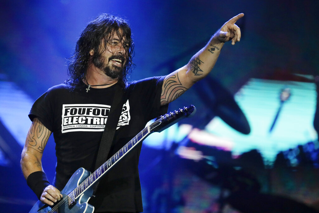 In this Sept. 29, 2019, file photo, Dave Grohl of the band Foo Fighters performs at the Rock in Rio music festival in Rio de Janeiro, Brazil. The band made this year's list of nominees to the Rock and Roll Hall of Fame. The class of 2021 will be announced in May. (AP Photo/Leo Correa, File)