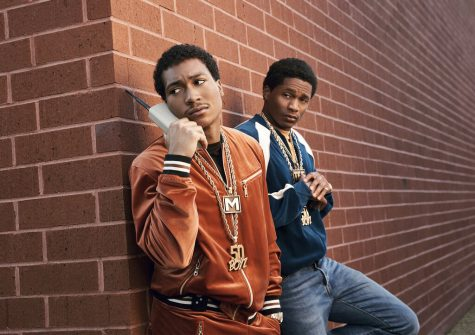"""This image released by Starz shows Demetrius """"Lil Meech"""" Flenory Jr., left and DaVinchi from the series BMF (Black Mafia Family), premiering Sunday on Starz."""